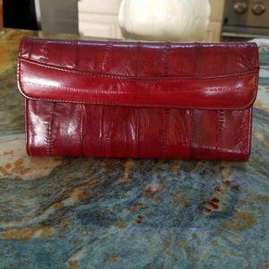 Vintage Burgundy Eelskin Wallet